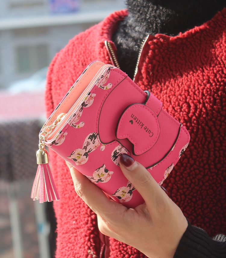 Tassel cartoon cat women wallet printing PU Leather women walelt brand designed coin purse female card holder cute girl wallet 5