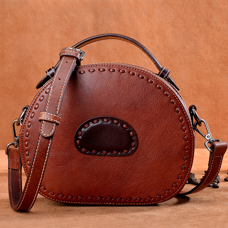 Bag female 2018 new leather handbag retro handmade ladies shoulder diagonal handbags manufacturers shipped women bag new wholesale new explosion landscape shoulder bag handbag fashion handbags manufacturers selling 50