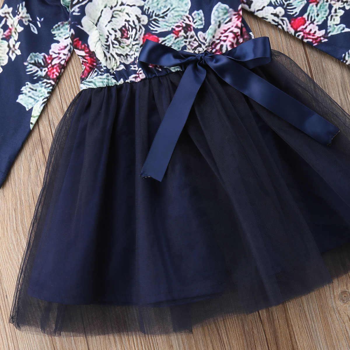 Grote/Zusje Bijpassende Jurk Pasgeboren Baby Meisje Bloemen Patroon Ruches Lange Mouwen Tule Jurk Outfits