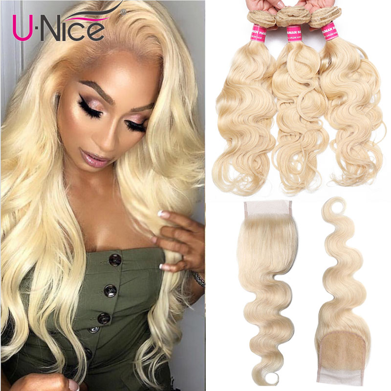 Unice Hair 613 Blonde Bundles With Closure Brazilian Body Wave Remy Human Hair 3 Bundles With Closure Free Shipping
