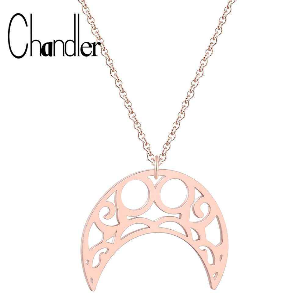 Chandler Curved Crescent Moon Kolye Necklace Rose Gold Women Necklaces Ladies Steel Muslim Jewelry Halal Moon Birthday Gift