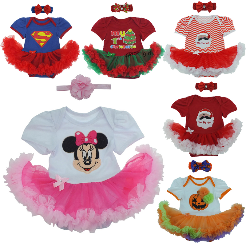 2018 Merry Christmas Infant Girl Rompers Dress Bebe Baby Girls Clothes Set Newborn Cotton Jumpsuit Clothes Bebes Infantil menina