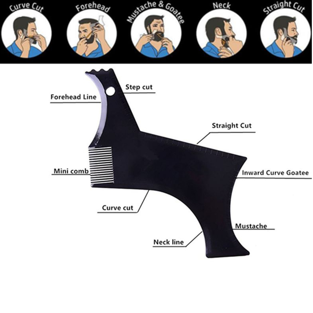 Купить с кэшбэком New Beard Comb Easy Shaping Bear Tool Trimming Shaper Template Guide for Shaving or Stencil With Full-Size Comb for Line Up