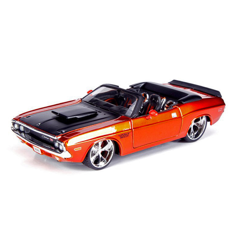 DG Challenger 1970 ragtop Orange 1:24 véhicule de course en métal jouer à collectionner modèles voitures de Sport jouets pour cadeau