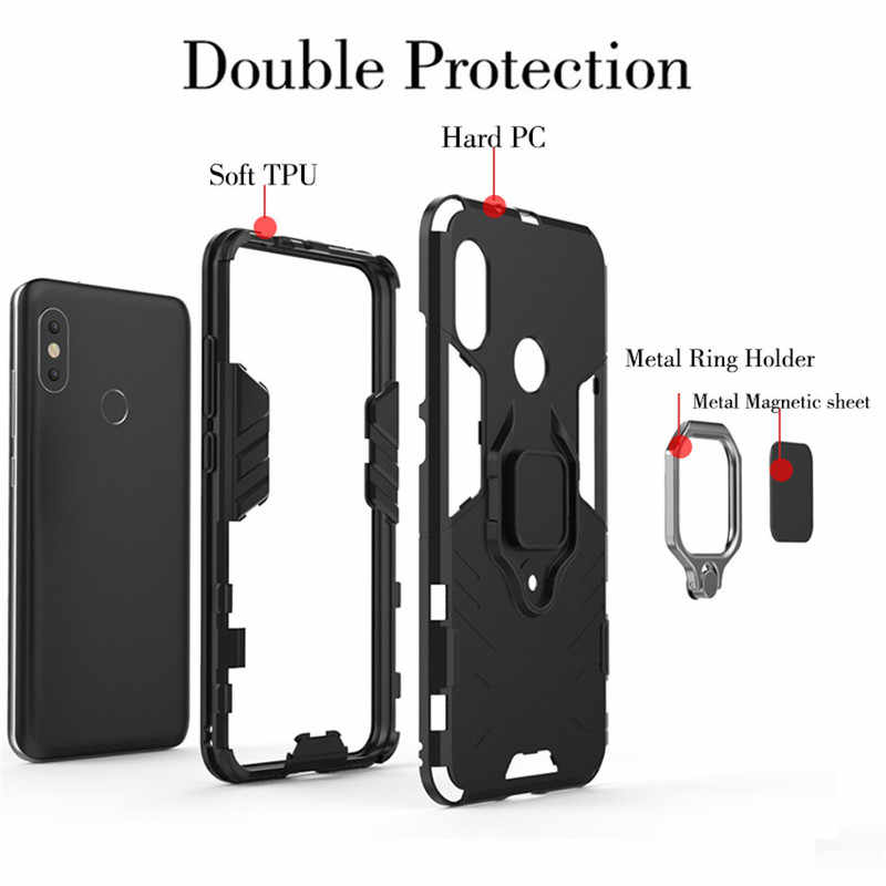 online retailer b9c42 f61bc Redmi 6 Pro Case Magnetic Armor Phone Case for Xiaomi Mi A2 Lite Car Ring  Holder Stand Silicone Hard Back Cover Red Mi 6pro Capa