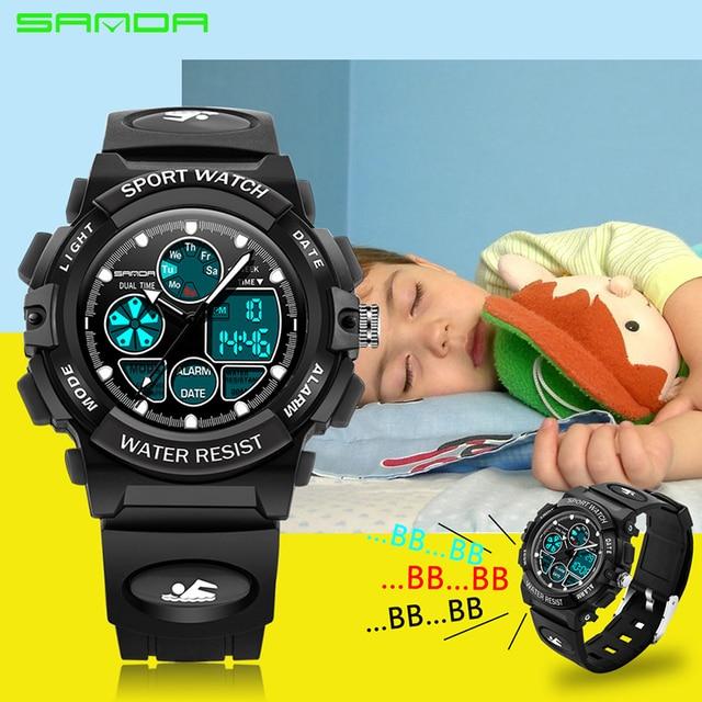 Alarm Clock SANDA Children Sports Wrist Watches Kids LED Digital Quartz Military