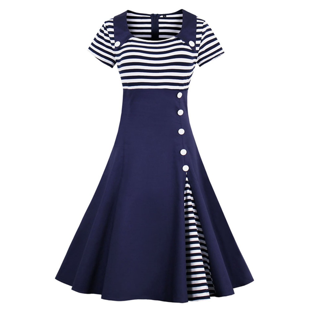 Women Elegant Spring Summer Swing Dresses Button Decor Sailor Stripe Shirt Party Plus Size Midi 1950s 50 60s Retro Vintage Dress