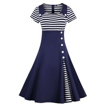 Women Elegant Spring Summer Swing Dresses Button Decor Sailor Stripe Shirt Party Plus Size Midi 1950s 50 60s Retro Vintage Dress plus size zebra stripe swing high low dress