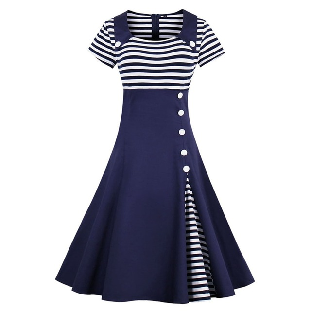 0a28c03c7542b Women Elegant Spring Summer Swing Dresses Button Decor Sailor Stripe Shirt  Party Plus Size Midi 1950s 50 60s Retro Vintage Dress