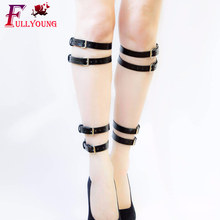 Fullyoung Leg Bondage Sexy Garter Belt For Women Belts Ring PU Adjustable Leather Harness Garters Stockings
