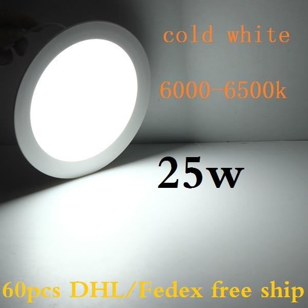 DHL 60 pcs 25W led panel lights round recessed smd led ceiling spot panels lighting bulb warm white/natural white/cold white