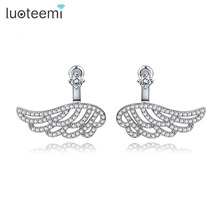 LUOTEEMI Luxury Real white gold plated Fashion Bling Charm Vintage Ear Jacket Stud Wings Earrings Women Fashion Ear Accessories
