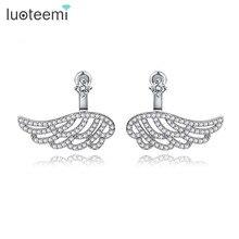 LUOTEEMI Luxury Real white gold plated Fashion Bling Charm Vintage Ear Jacket Stud Wings Earrings Women Fashion Ear Accessories