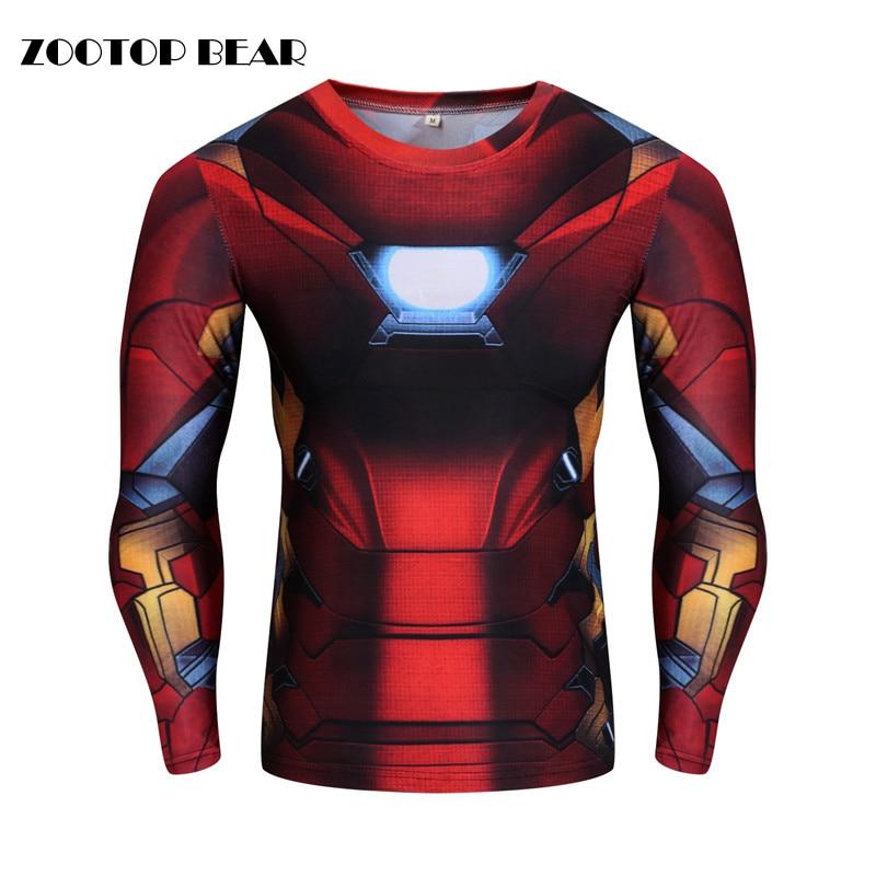 High Elastic T shirts Superhero Printed 3d Top Men Compression Crossfit Fitness Tees 2017 Long Sleeve Cosplay Tshirt ZOOTOP BEAR
