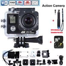4 К Ultra HD WIFI Действий Камеры Водонепроницаемый Подводный Go Pro Камеры + Алюминий Выдвижная Полюс Stick + сумка для фотокамеры