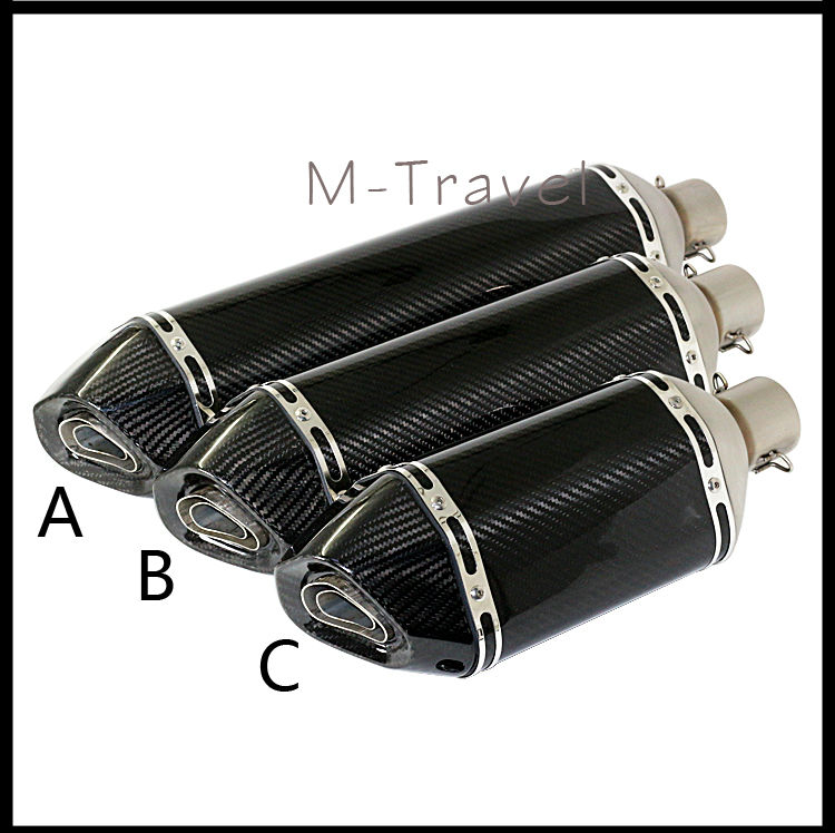 2016 New Model High Quality carbon fiber ID:51mm Universal Motorcycle Exhaust Pipe Muffler Racing Exhaust  z800 z1000 free shipping carbon fiber id 61mm motorcycle exhaust pipe with laser marking exhaust for large displacement motorcycle muffler