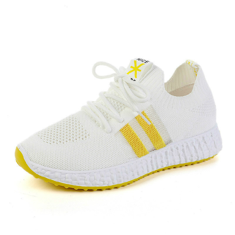Outdoor Flat Casual Sneakers Women Lightweight Running Shoes Breathable Hollow Comfortable Black and White Sport