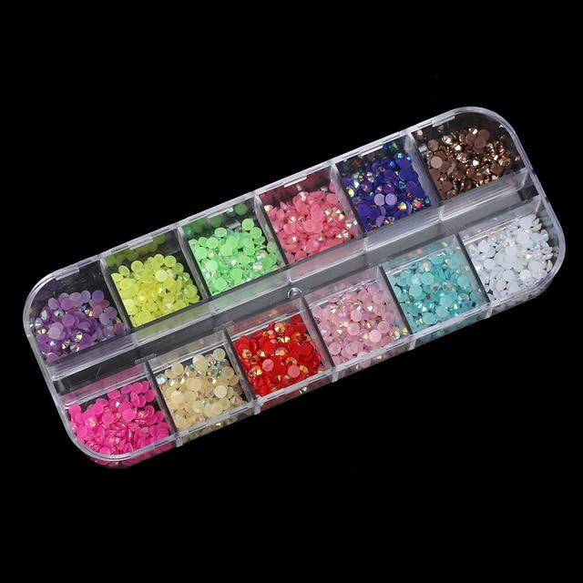 1PC 2mm 3D Gems Nail Art Rhinestones Silver Mix Round Teardrop Heart ...