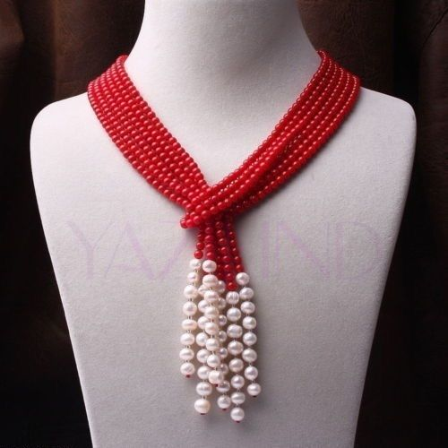 Fashion girl jewelry store new design long natural 6 7mm red coral white pear necklace scarves