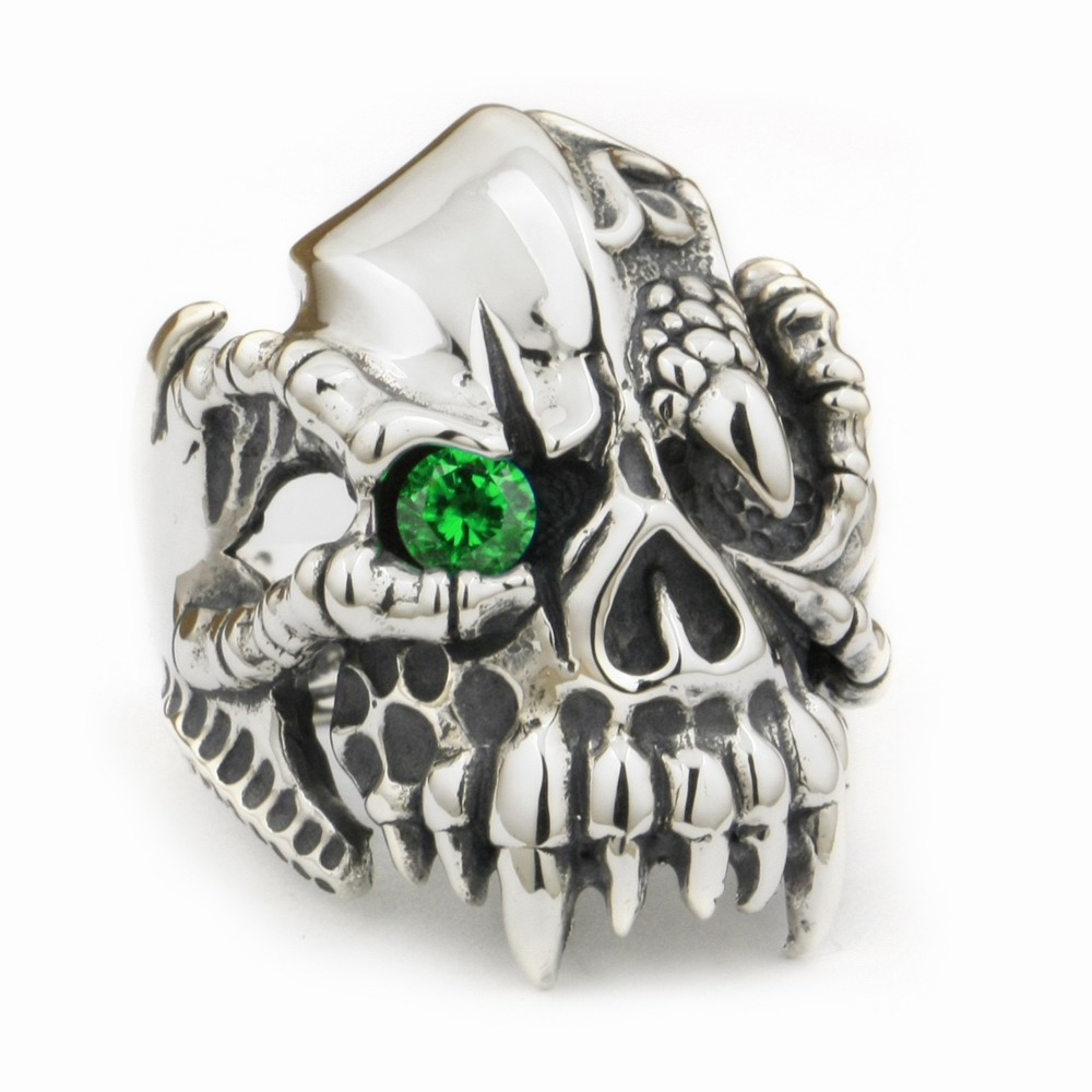 LINSION 925 Sterling Silver Dragon Claw Round Green CZ Eye Mens Biker Rock Punk Skull Ring 9M202 US Size 7.5 to 15 green cz eye 925 sterling silver skull ring mens biker punk style 8v306a us 8 15