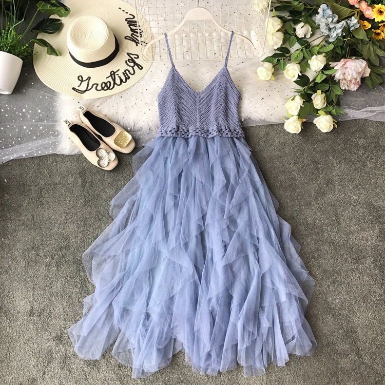 2019 Summer New Sexy Suspender Brassiere Mesh Dress Summer Knitted Stitching Playful Ruffled Gauze Patchwork Vestidos 7