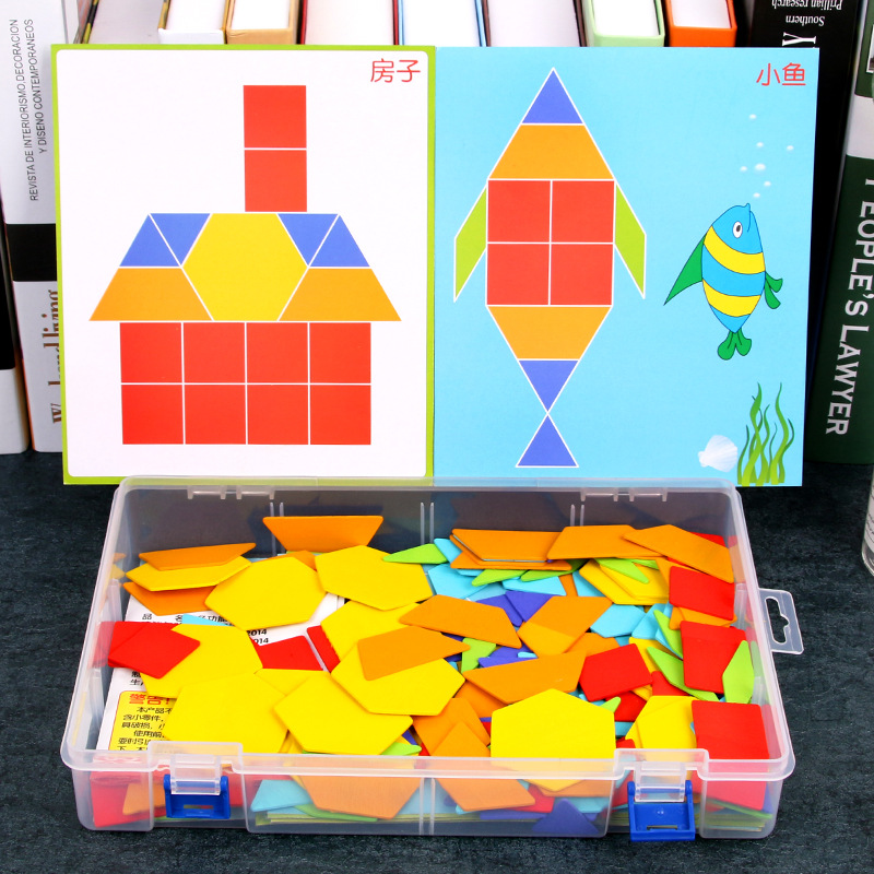 170 Pcs/set Colorful Wooden Tangram Puzzle Toys Geometric Shape Game Funny Creativity Jigsaw Baby Preschool Educational Kids Toy