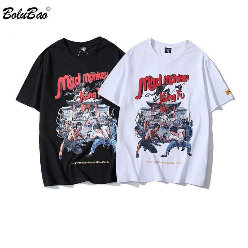 BOLUBAO Fashion New Men T-shirt  Print Cotton  Male T Shirts Cartoon Hip Hop Men's Street Clothing Tee Top