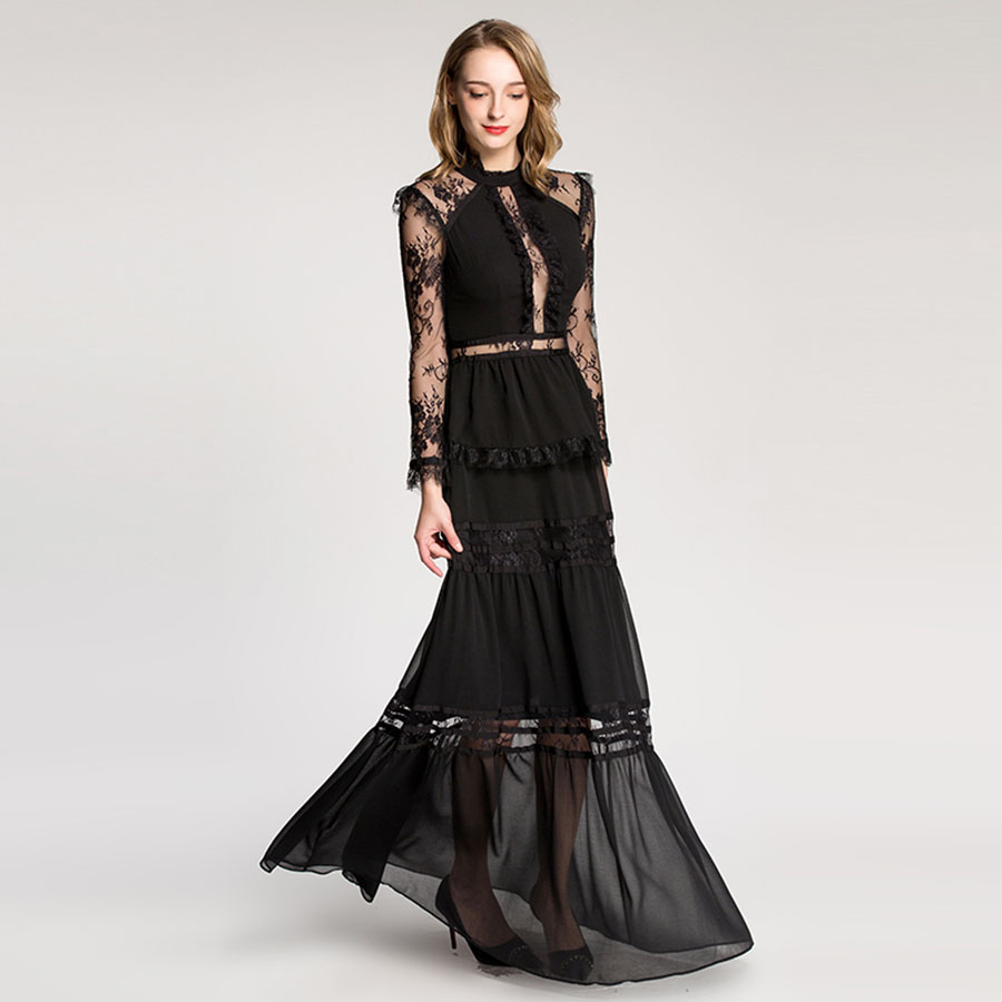 254e6fd789e3c High End Lace Dress Women 2018 Spring New Sexy Perspective Strapless Lace  Hollow Embroidery Ruffles Spliced Big Hem Long Dresses | Everyday Essentials