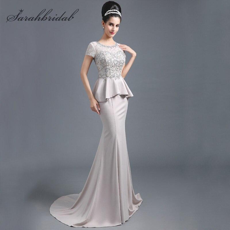 Classique sirène robes de soirée dentelle perles manches courtes transparent dos nu femmes mère de mariée robes offre spéciale en Stock SD291 - 3