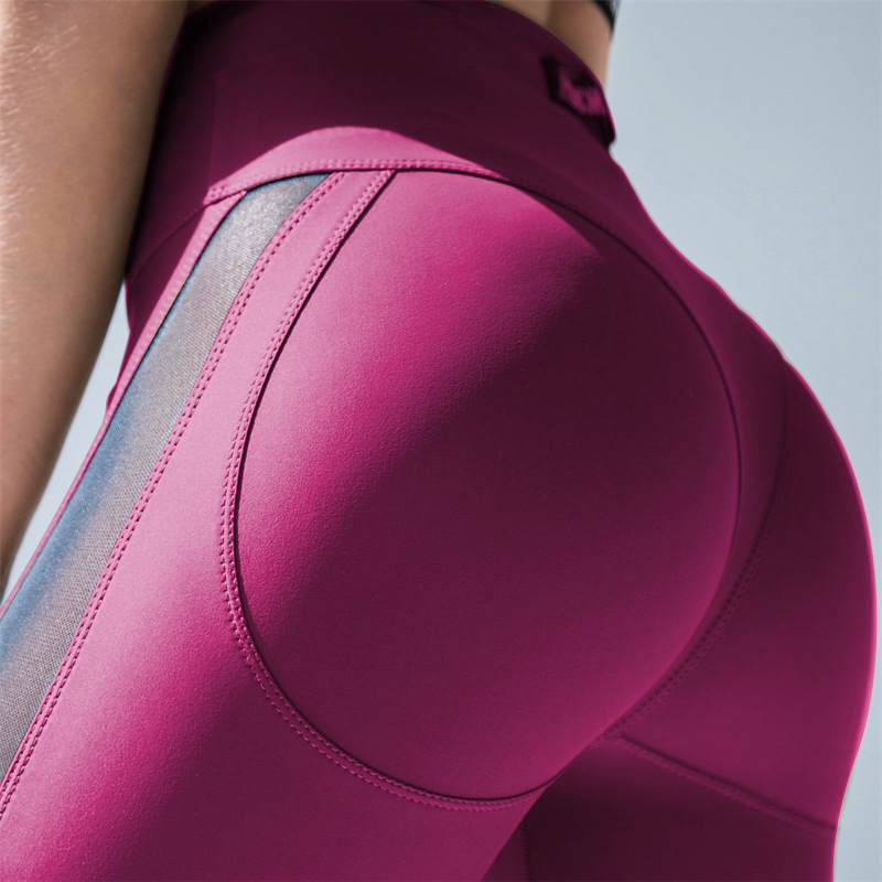 FRECICI Women Sexy Booty Leggings Push Up Pants Side Transparent Leggings See Through Workout Fitness Push