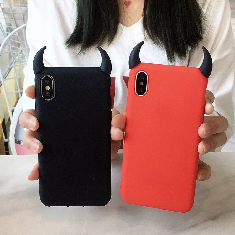 Soft Silicone Black <font><b>Red</b></font> <font><b>Case</b></font> for <font><b>iPhone</b></font> X XS MAX XR 7 8 <font><b>Plus</b></font> 6 <font><b>6S</b></font> 6P 11 pro max TPU <font><b>Cases</b></font> Devil Horns Demon Angle Cover image