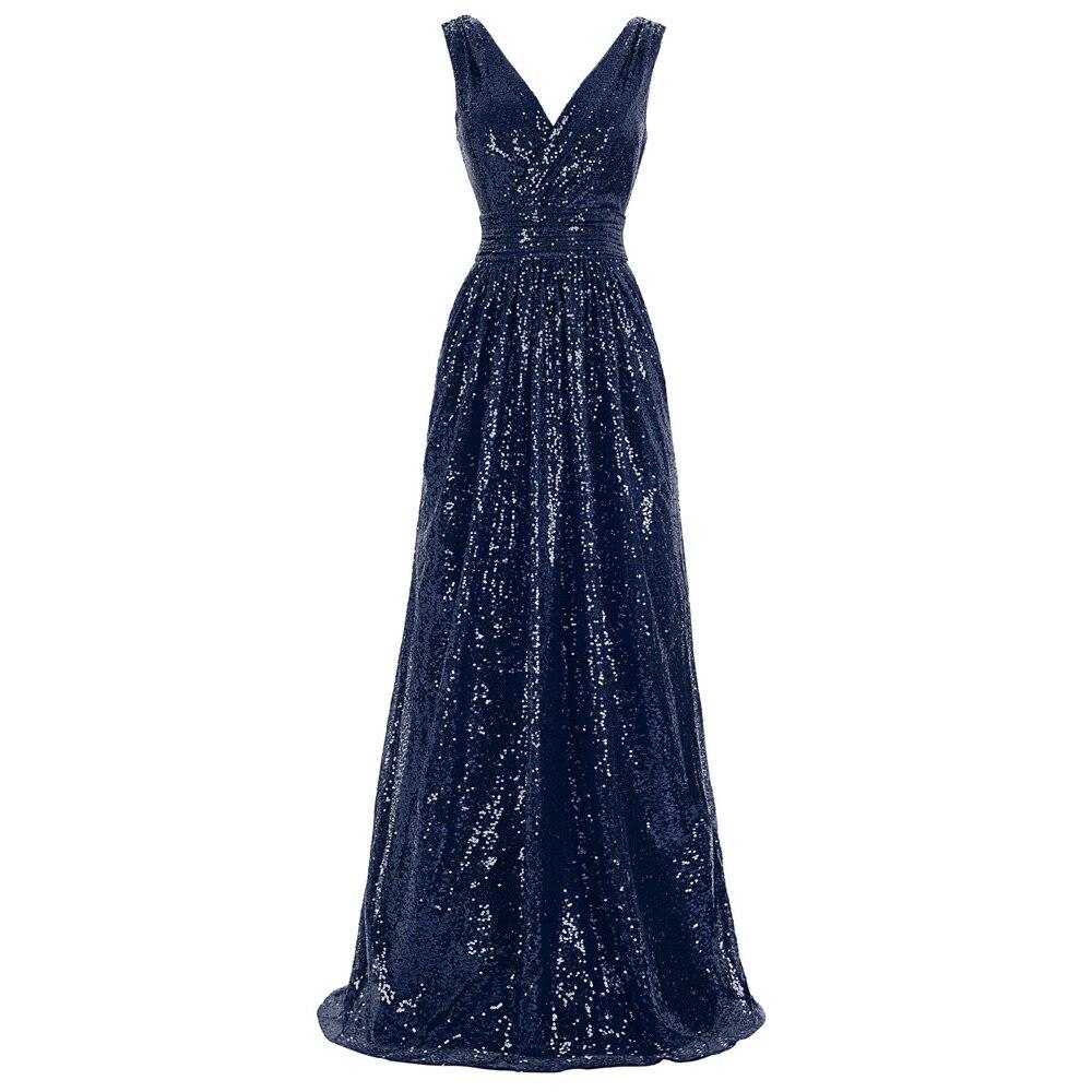 Début robe robe de bal col en V Pageant paillettes fiançailles Long anniversaire sans manches Maxi brillant nuit fête femmes