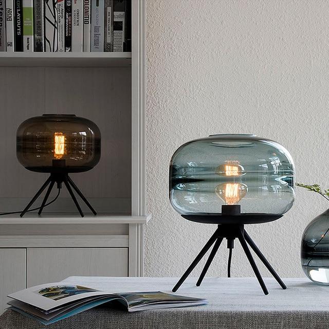 Modern Scandinavian style blue glass table lamp creative art hardware shelf E27 tungsten light bulb lighting bedroom decoration