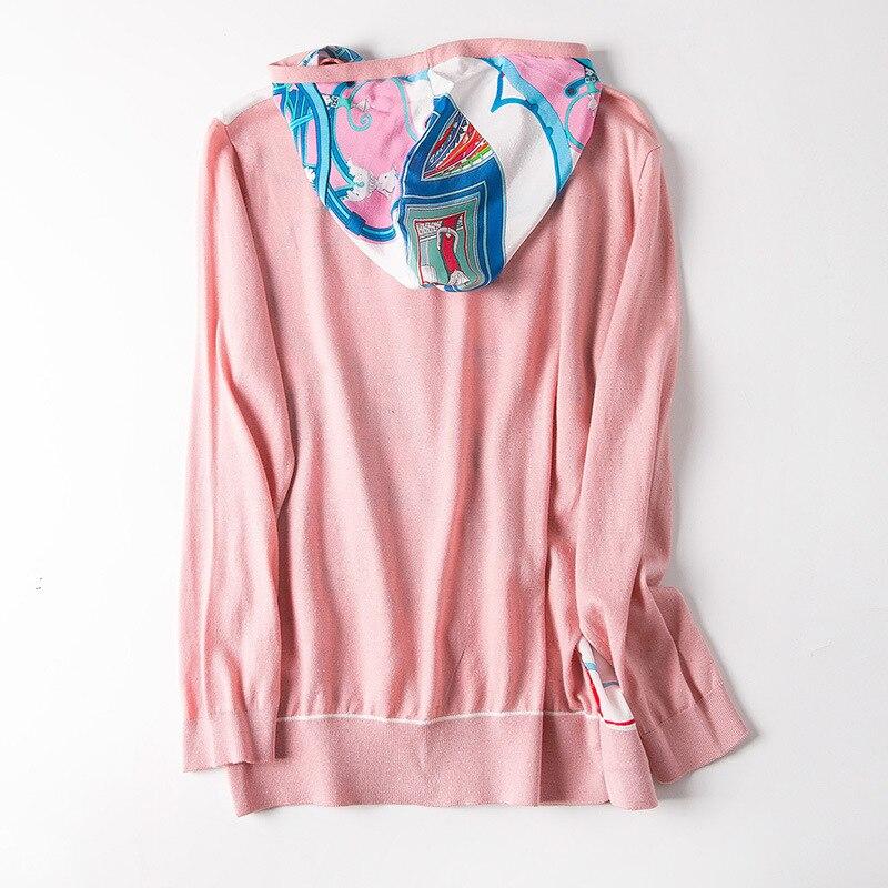 Nuevo cárdigan de seda impresa con capucha tejido aire acondicionado previene el bask en la ropa - 5