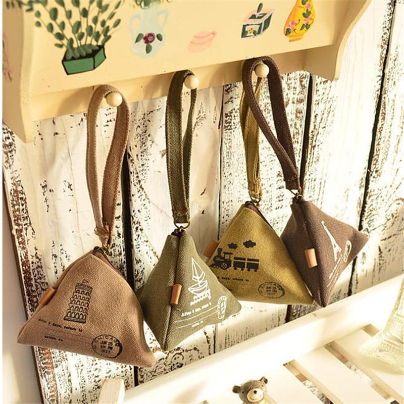 Mini Triangle Kids Coin Purses Canvas Organizer Wallets Vintage Eiffel Tower Money Bag Coin Pocket Children Zipper Change Purse