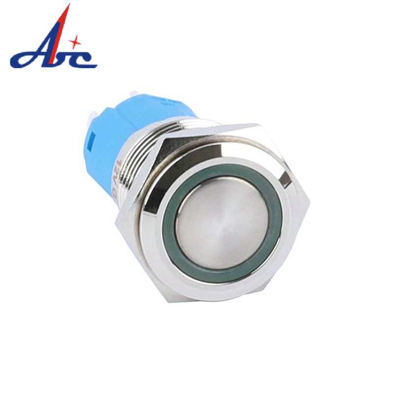 New Arrival 16mm Flat Round Head 1NO1NC Latching Ring Illuminated Momentary Push Button