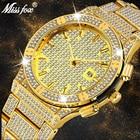 Missfox Role Watch Men Luxury Brand Gold Men's Wristwatch Clock Carbon Fiber Calendar Iced Out Classic Quartz Watch Male Clock