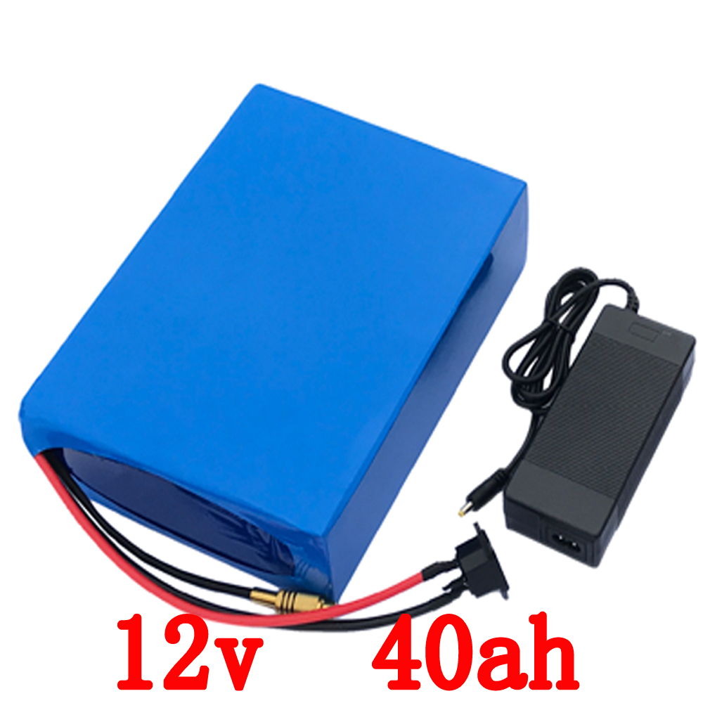 EU US No taxes 12V 40AH lithium battery pack 12V 500W High Capacity 12V 40000MAH rechargeable battery with Charger 30A BMS free customs taxes high quality diy 48 volt li ion battery pack with charger and bms for 48v 15ah lithium battery pack