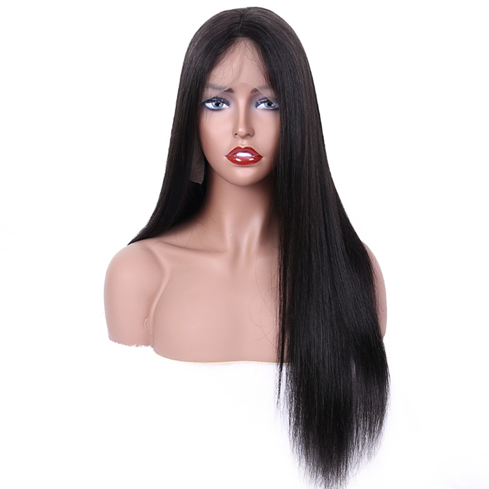 Glueless Full Lace Wigs Straight High Density Pre Plucked Full Lace Human Hair Wigs For Women With Baby Hair Brazilian Wig Remy(China)