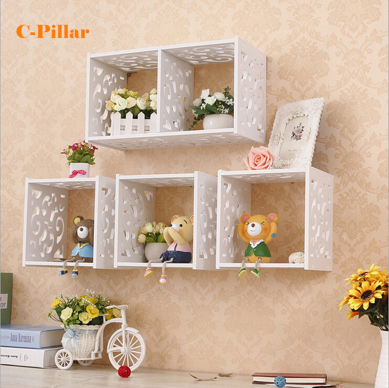 Bathroom Decorative Grid Cabinet Wall Shelf Storage Holder