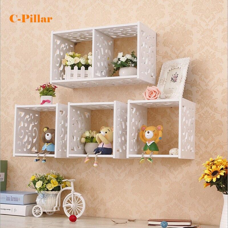 Estanter a de pared de gabinete de rejilla decorativa de for Gabinete de almacenamiento de bano de madera