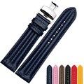 22mm carbono grão + pulseira de couro genuíno cinta dupla costura preto marrom cor de rosa azul vermelho moda butterfly clasp pulseiras