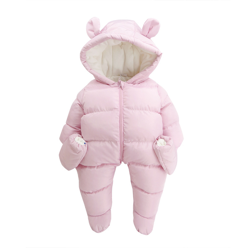 цена на Russia Keep Warm Baby Romper Girls Overalls for Winter Thick Warm Kids Jumpsuit for Newborns Infant Child Clothing B142-3