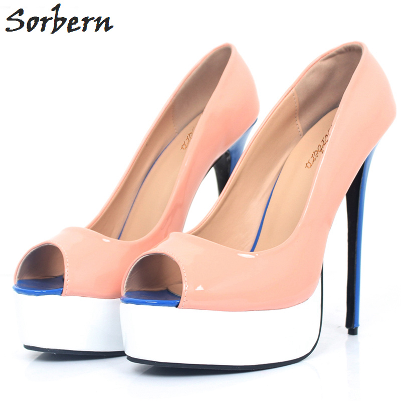 2bbe1b2382e Sorbern Orange Women Pumps 15CM Super High Heel Platform Peep Toe Sexy Pumps  2018 Fashion Party Wedding Shoes Custom Color