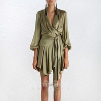 2019 New Runway Self Portrait sexy women Pasajam Wind dress Strap Slim Lantern Sleeve Satin Irregular Dresses Female Vestidos