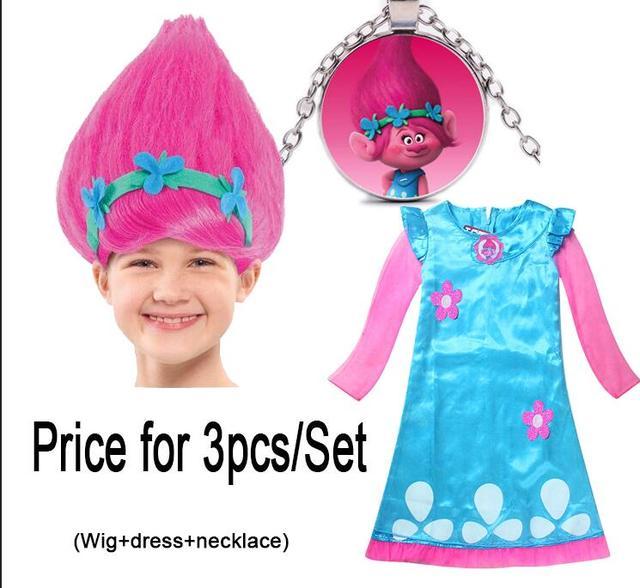 Trollstice Costume Poppy Trolls Clothes Fancy Dress + Wig + Necklace ...