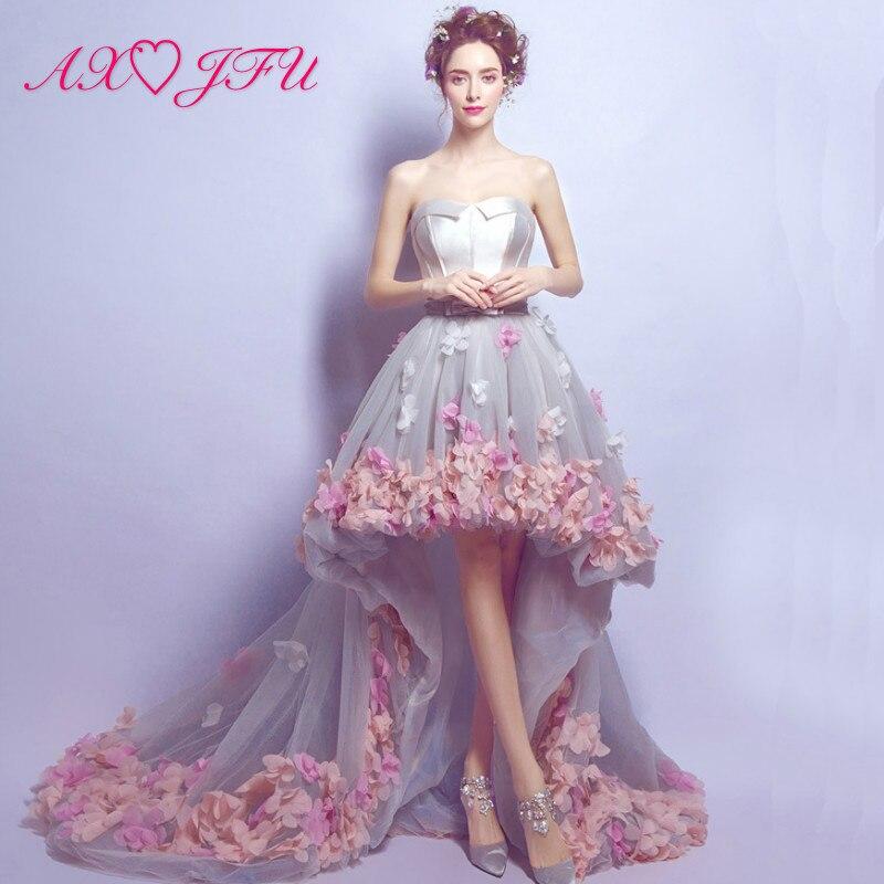AXJFU princesse romantique pétales court devant et dos Long rose fleur arc gris dentelle mariée bretelles courte plage robe de soirée