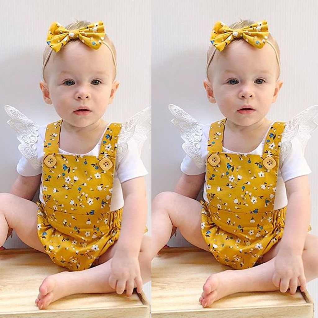 Romper Bodysuit Outfits-Set Shirt Shorts Baby-Girl-Set Ruffled Kids Lace Floral Suspender