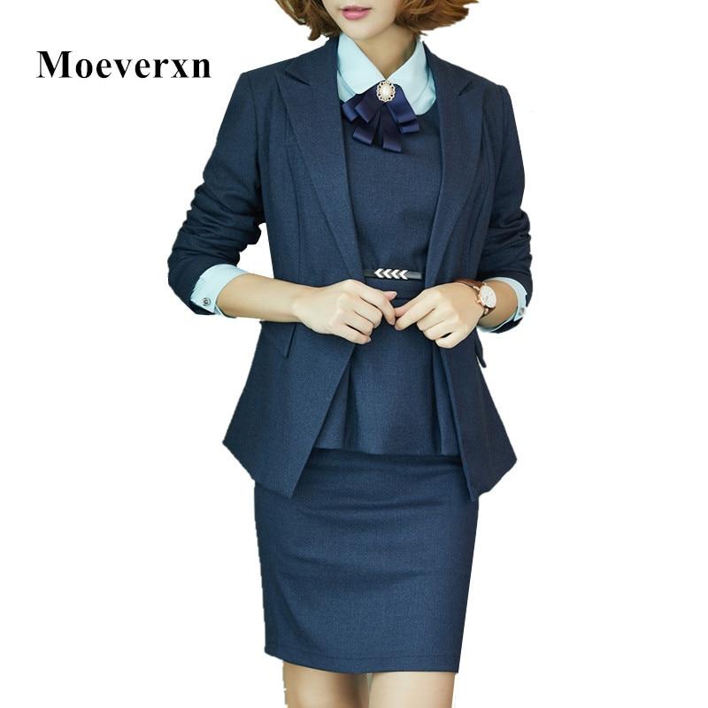 Suit À Costume Femmes Black Conceptions La De Bureau D'affaires Suit S blue Costumes Blazer Automne Gilet Uniforme Plus Skirt Jupe Professionnel 3xl Taille agq5rUqR