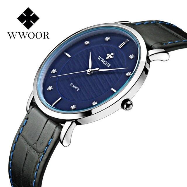 5f3c17ff279 Homens Relógios de luxo Da Marca design Ultra Fino Completo Couro Genuíno  Relógio Masculino À Prova